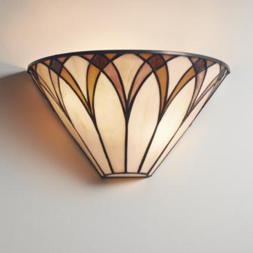 "Filton 6"" High Bronze Yellow Tiffany-Style Wall Sconce"