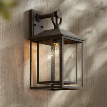 "Califa 18"" High Bronze Textured Glass Outdoor Wall Light"