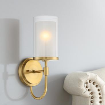 "Lesley 15"" High Double Glass Antique Brass Wall Sconce"