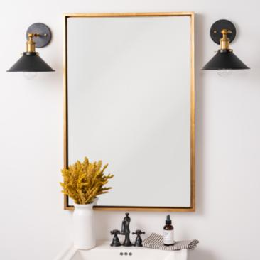 "Jordan Antique Gold 24"" x 36"" Rectangular Wall Mirror"