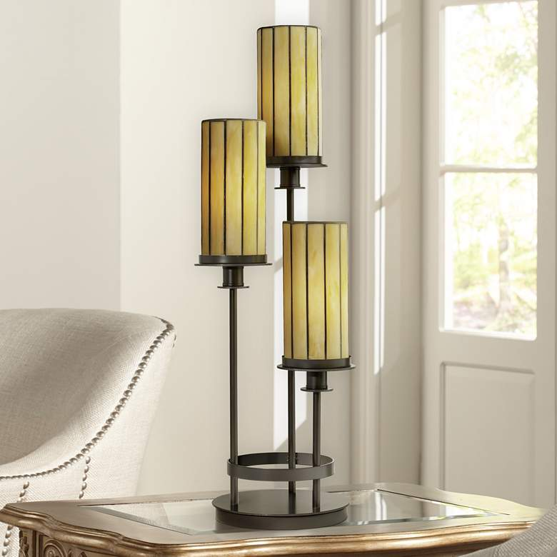 "Contemporary Mission 30"" High Three Light Tiffany-Style Console Lamp"