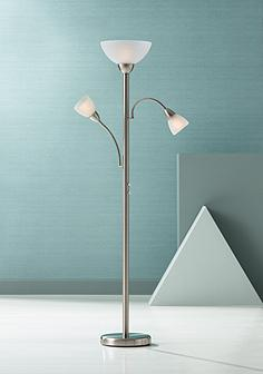 Chrome floor lamps lamps plus alexei brushed steel gooseneck torchiere floor lamp aloadofball Gallery