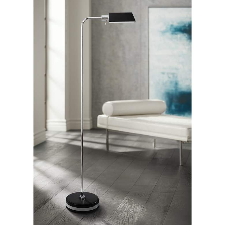 Drayton Black and Polished Steel LED Pharmacy Floor Lamp