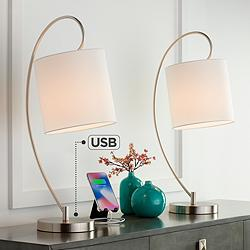 Ferris Metal Arc Table Lamps with USB Ports Set of 2