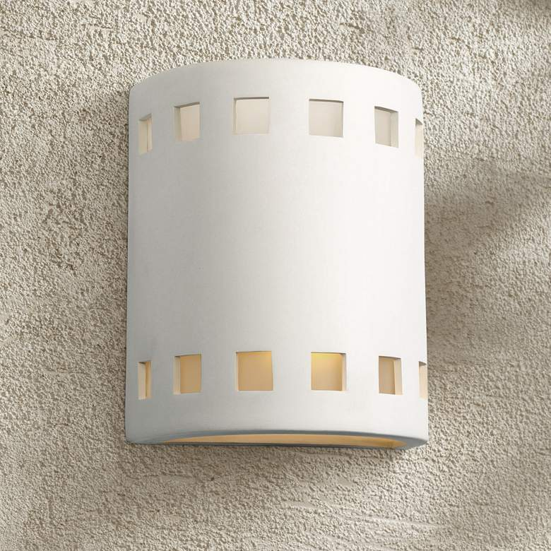 "Jaken 10"" High Paintable White Bisque Outdoor Wall Light"