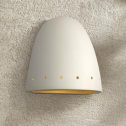 "Jaken 9 1/2""H Paintable White Bisque Dome Outdoor Wall Light"