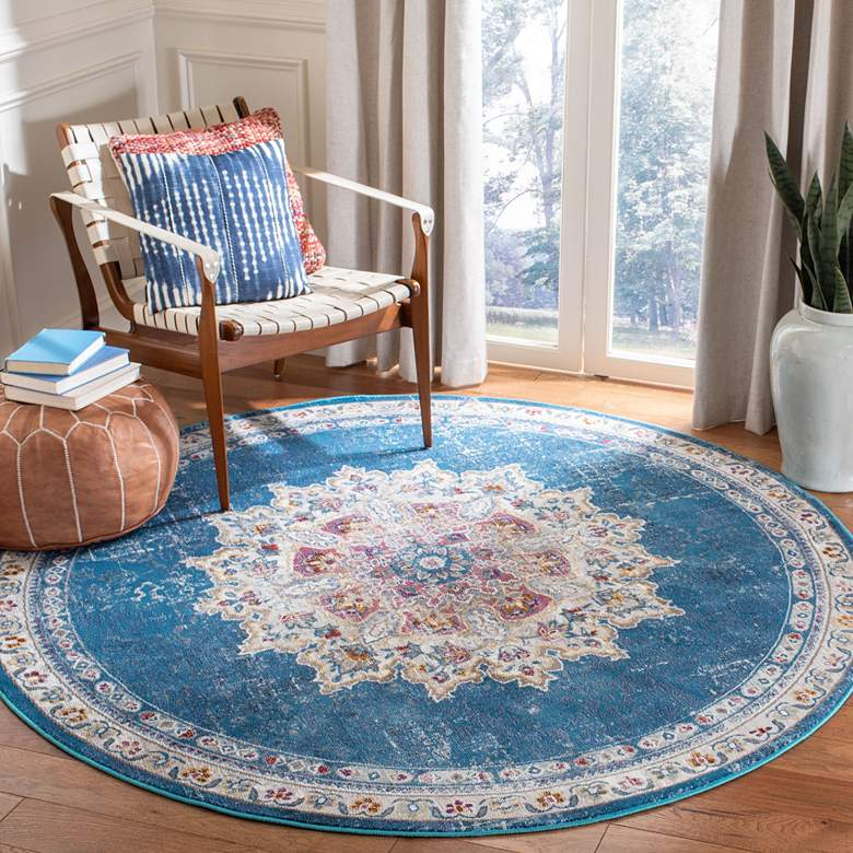 "Safavieh ARA103N 6'5""x6'5"" Round Blue and Ivory Area"