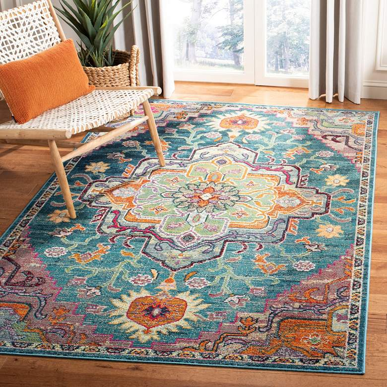 Safavieh CRS501T Teal and Rose Area Rug