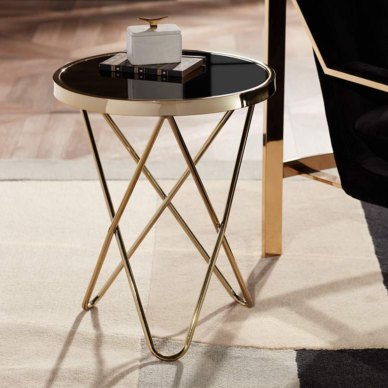 "Marty 17 1/2"" Wide Gold and Black Hairpin End Table"