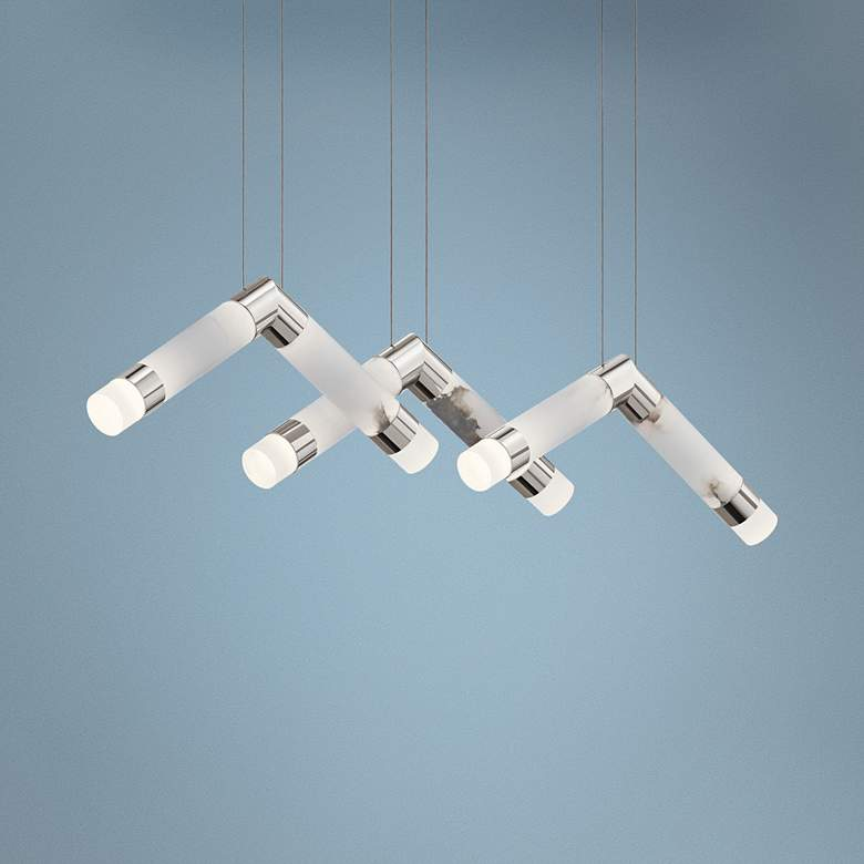 "Elan Birds 44""W Polished Nickel 6-Light LED Cluster"