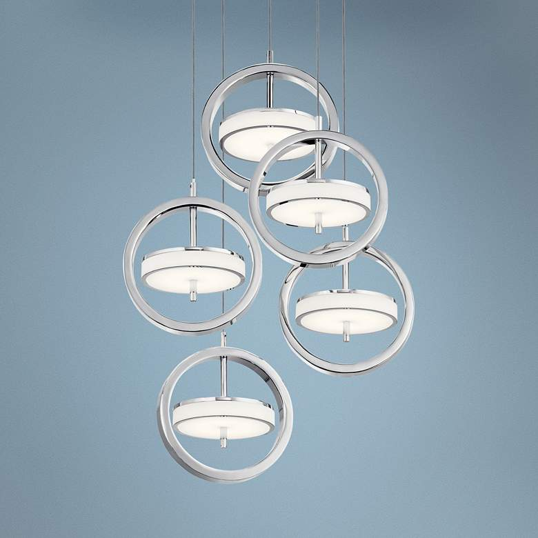 "Elan Metro 11 3/4""W Polished Nickel LED Multi Light Pendant"
