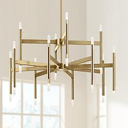 "Elan Kizette 32"" Wide Champagne Gold 24-Light LED Chandelier"