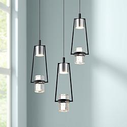 "Elan Sorno 12 1/2""W Polished Nickel LED Multi Light Pendant"