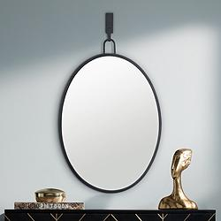 "Varaluz Casa Stopwatch Black 22"" x 30"" Oval Wall Mirror"