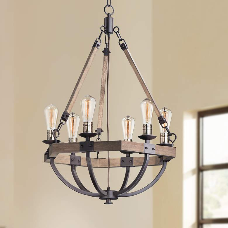 "Maxim Lodge 24""W Weathered Oak and Bronze 6-Light Chandelier"