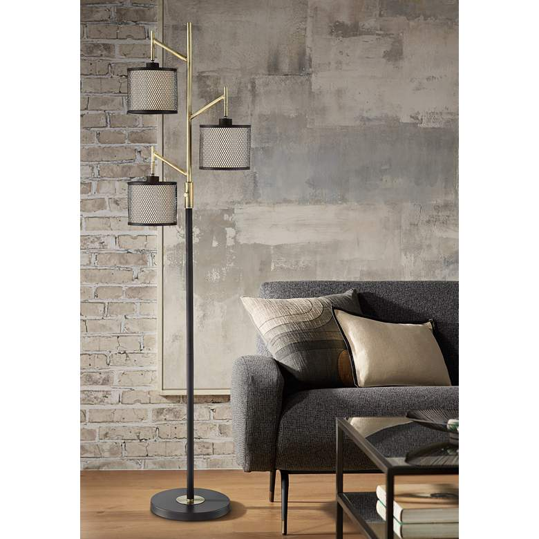 Lite Source Elena Coffee 3-Light Metal Floor Lamp