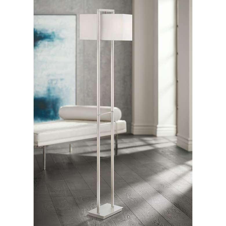 Lite Source Caitlin Brushed Nickel 2-Column Floor Lamp