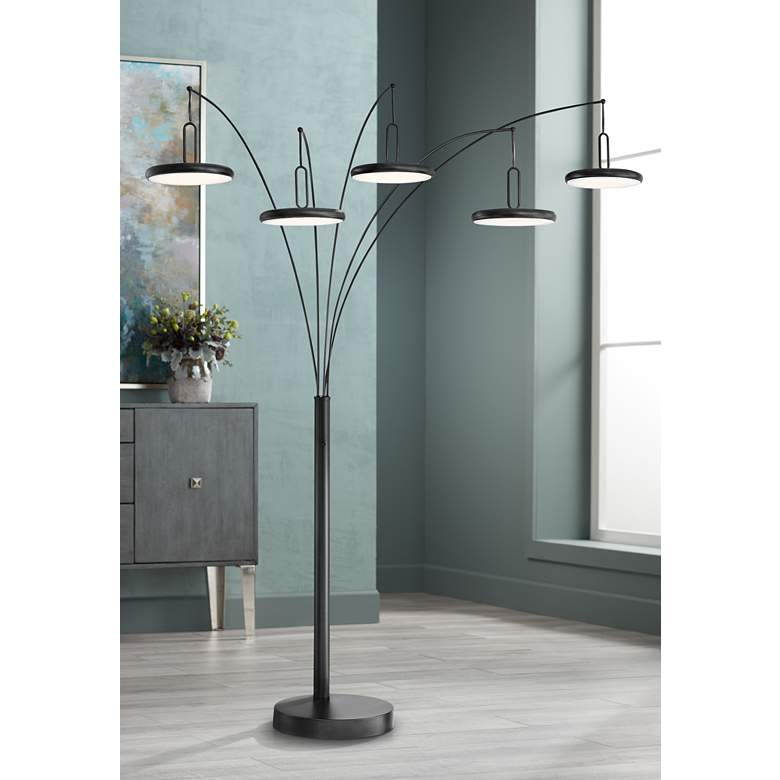 Lite Source Sailee Black 5-Light LED Arc Floor Lamp