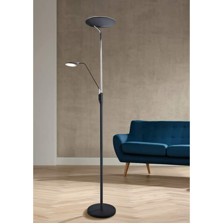 Keira Black LED Torchiere Floor Lamp with Reading