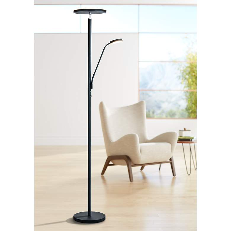 Lite Source Monet Black LED Torchiere Lamp w/