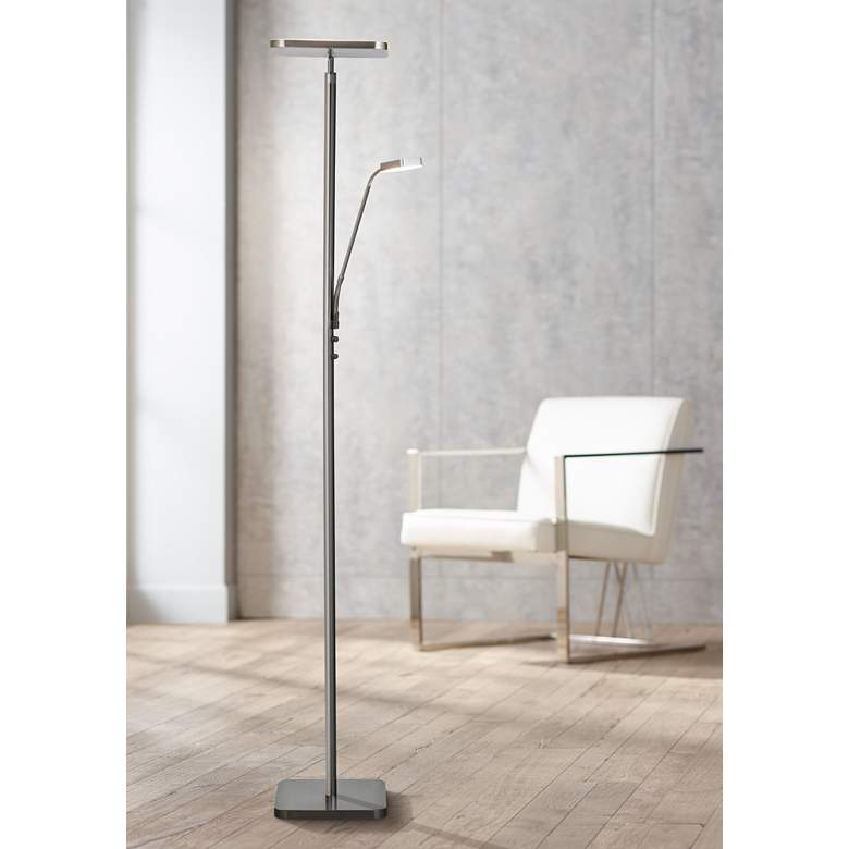 Hector Brushed Nickel LED Torchiere Lamp with Reading