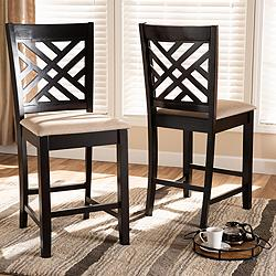 "Caron 25"" Espresso Brown Wood Counter Stools Set of 2"