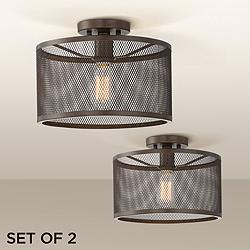 "Frey 14""W and 12 3/4""W Bronze Ceiling Light Set of 2"