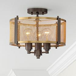 "Ashlea 14 1/2"" Wide Brass Mesh 3-Light Ceiling Light"