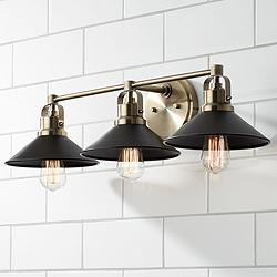 "Possini Euro Clive 27""W Brass and Black 3-Light Bath Light"