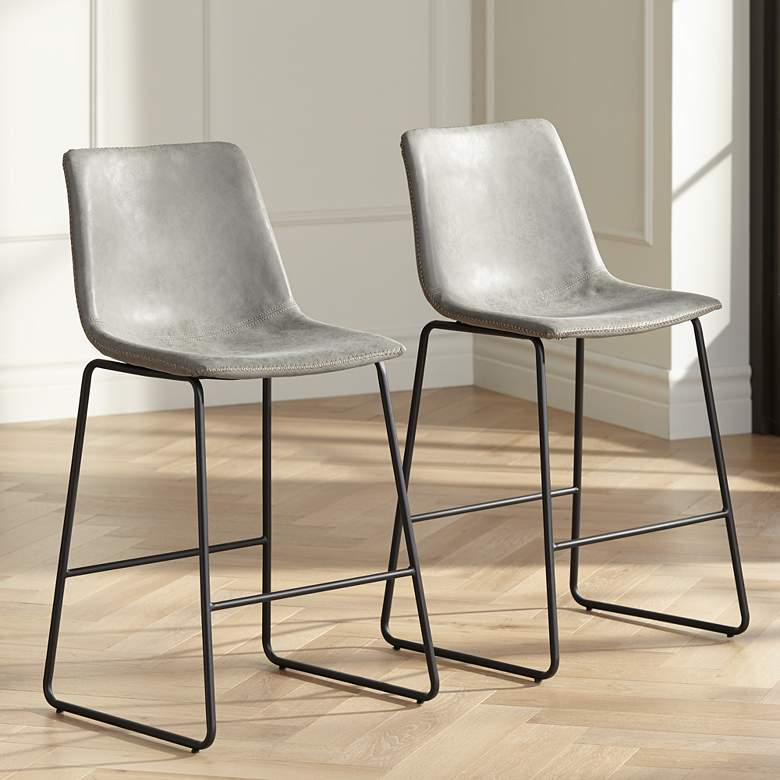 "Cal 26"" Gray Faux Leather Counter Stools Set of 2"