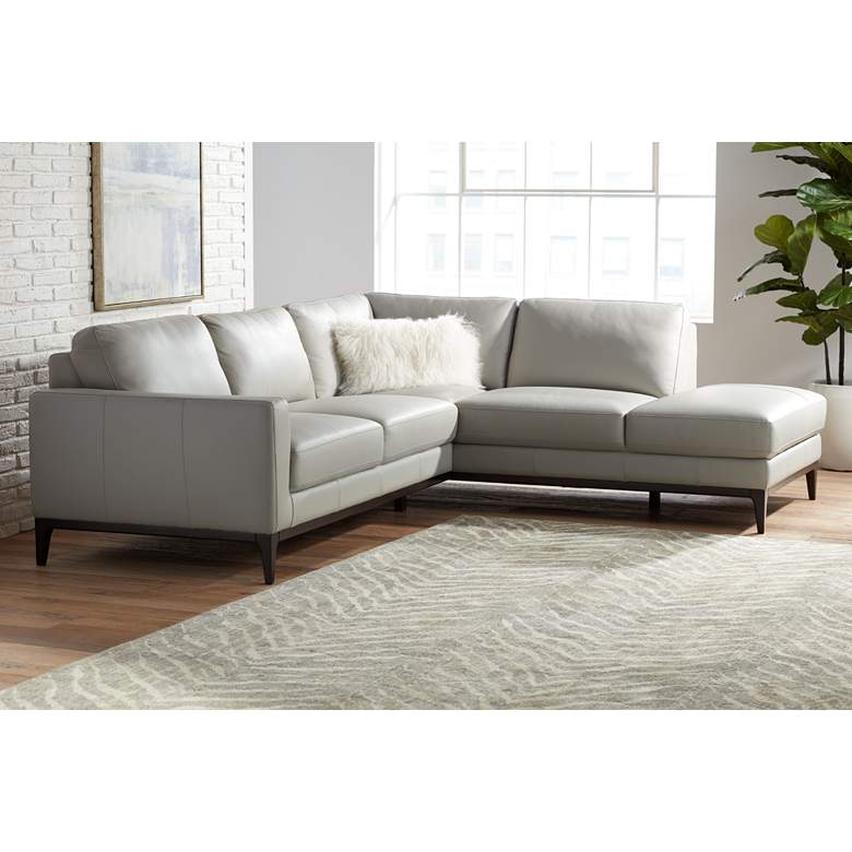 Raylen Gray Leather 2-Piece Modular Sectional