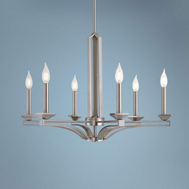 "Trumbull 26"" Wide Brushed Nickel 6-Light Chandelier"