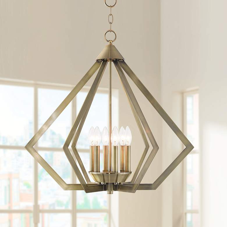 "Prism 26"" Wide Antique Brass 6-Light Chandelier"