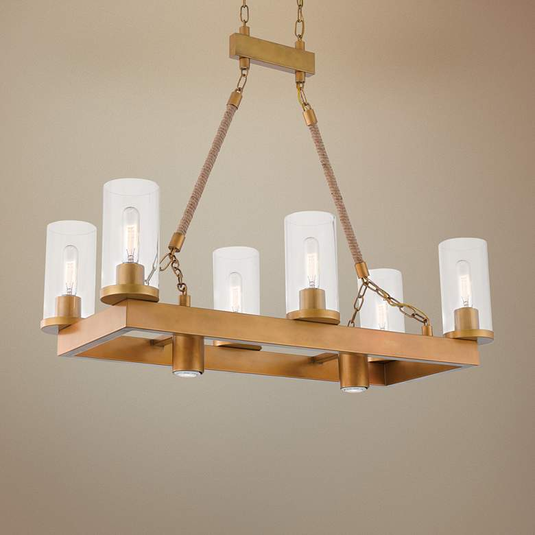 "Metuchen 34"" Wide Aged Gold Kitchen Island Light Chandelier"