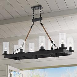 "Metuchen 44"" Wide Bronze Kitchen Island Light Chandelier"