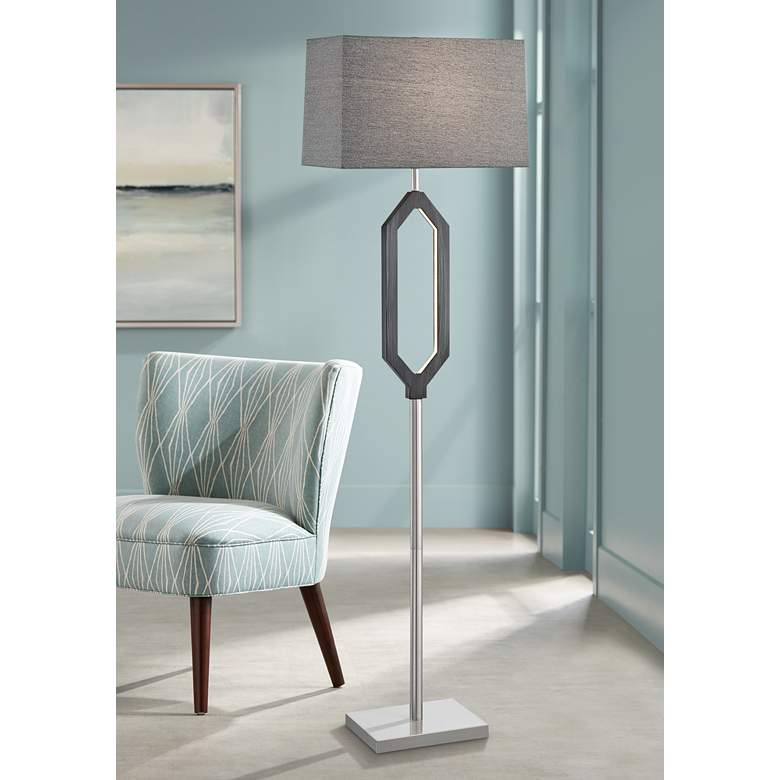 Desmond Charcoal Gray Floor Lamp w/ LED Night
