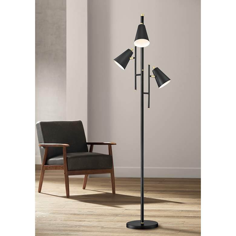 Lite Source Hemington Black Metal 3-Light Floor Lamp