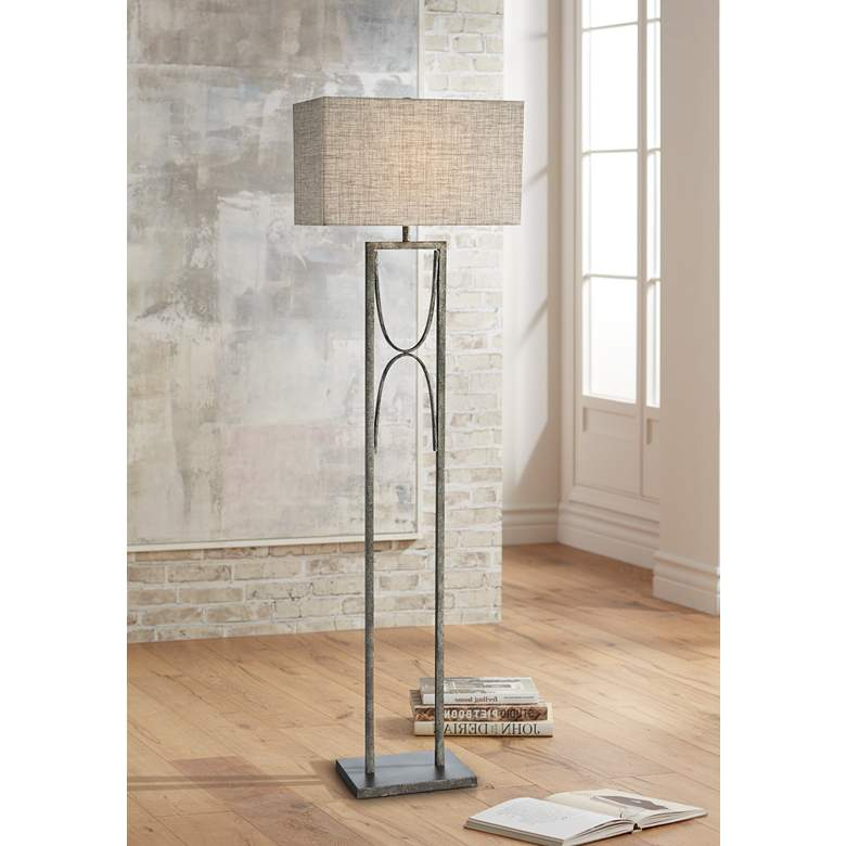 Lite Source Jefferson Aged Silver Open Frame Floor Lamp