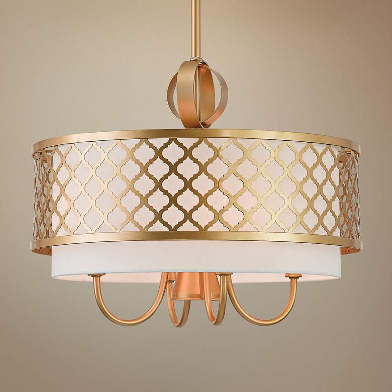 "Arabesque 18"" Wide Soft Gold Drum Pendant with Downlight"