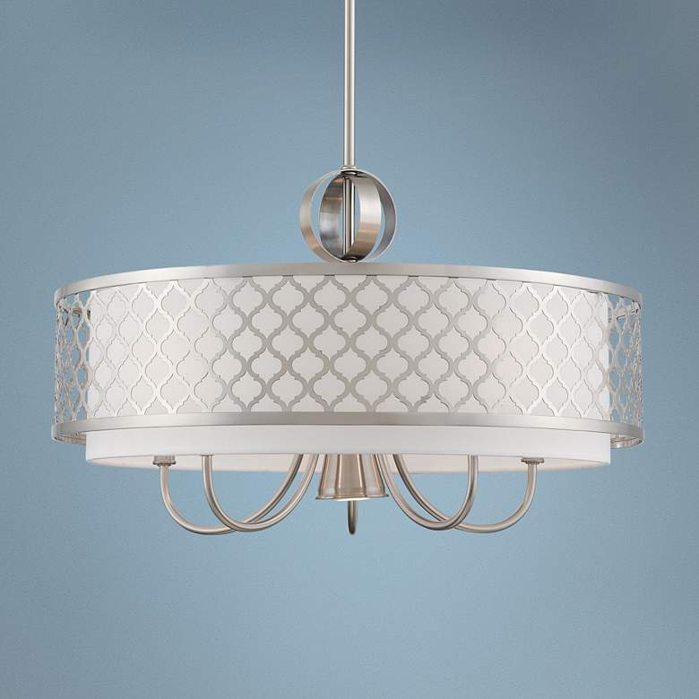 "Arabesque 24""W Brushed Nickel Drum Pendant with Downlight"