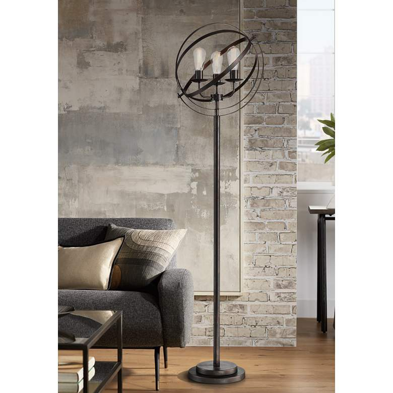 Lite Source Orbiton Black Metal 3-Light Floor Lamp