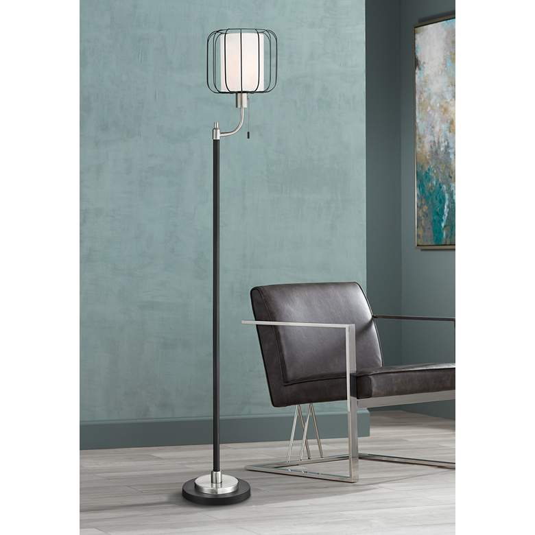 Lite Source Kaleria Brushed Nickel Metal Floor Lamp