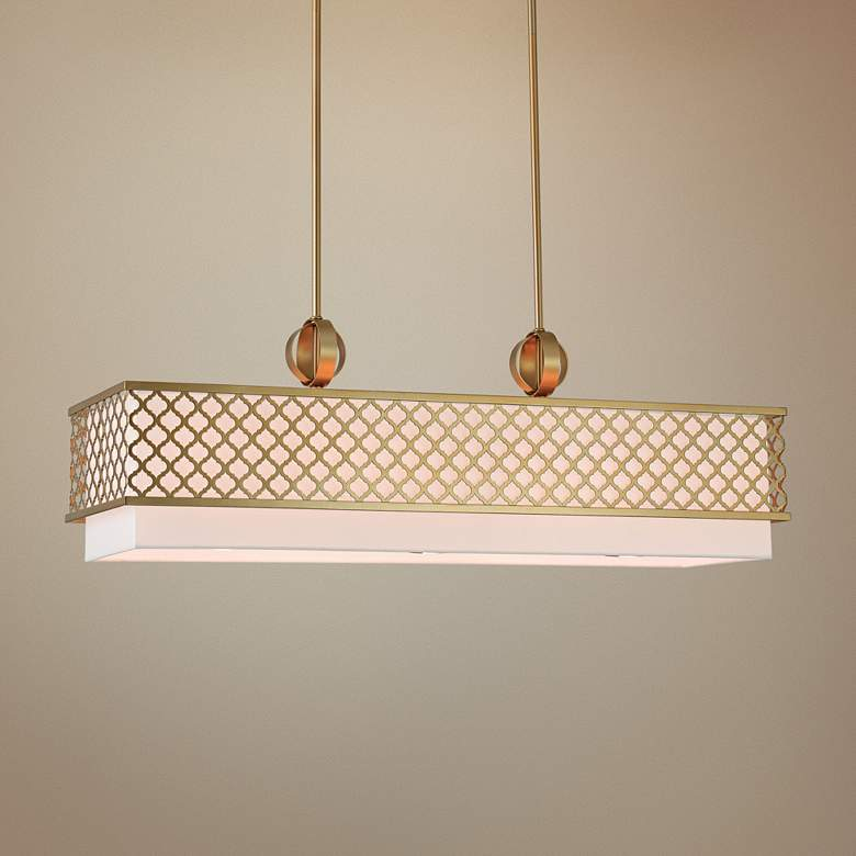"Arabesque 39 3/4""W Soft Gold Kitchen Island Light Pendant"