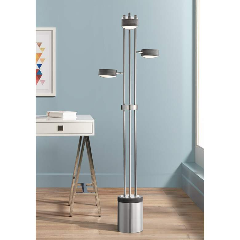 Lite Source Charlyne Brushed Nickel 3-Light LED Floor