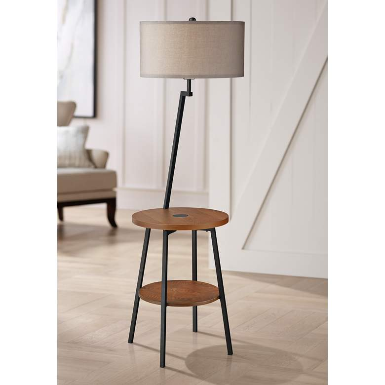 Lemington Black End Table Floor Lamp with Gray