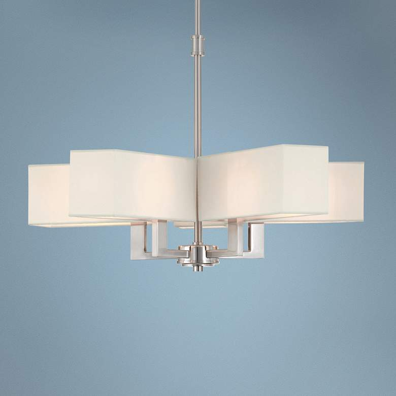 "Rubix 26"" Wide Brushed Nickel 5-Light Shade Chandelier"