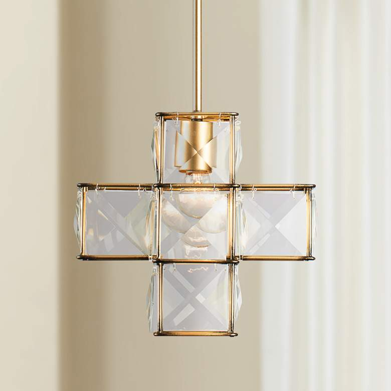 "Varaluz Cubic 12""W Calypso Gold and Crystal Mini Pendant"