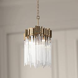 "Varaluz Matrix 14"" Wide Havana Gold and Fluted Glass Pendant"