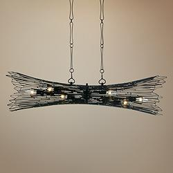 "Rikki 40""W Carbon and Aged Gold Kitchen Island Light Pendant"