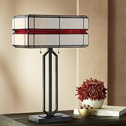 Lite Source Lacoon Matte Black Tiffany Art Glass Table Lamp
